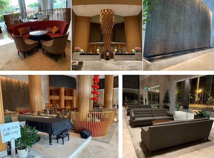 台南香格里拉大廳茶軒、沙發休息區、流水牆