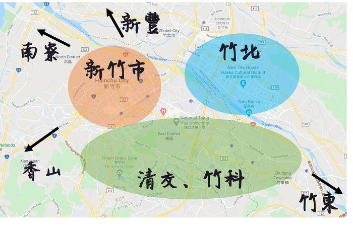[新竹住宿] 2020年15間新竹飯店推薦。大新竹地圖示意圖