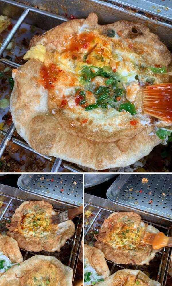 柯氏蔥油餅。宜蘭礁溪吃什麼。自己刷醬料