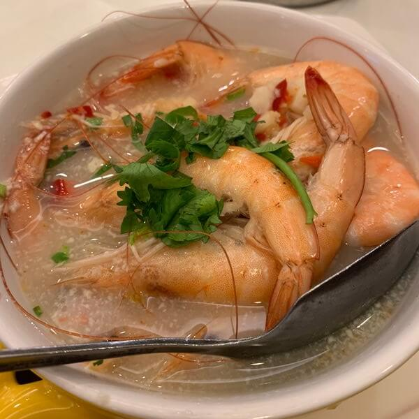 全家福客家菜館竹北館。香檸鮮蝦