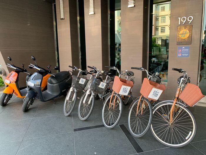 [台南安平住宿]臺邦商旅。腳踏車借用,GOGORO租借服務