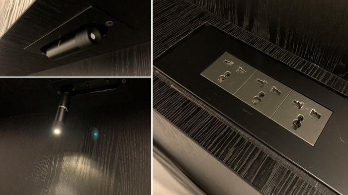 台南東區住宿/老爺行旅The Place Tainan/台南住宿飯店酒店推薦/設計風格結合在地元素飯店床頭櫃插座手電筒