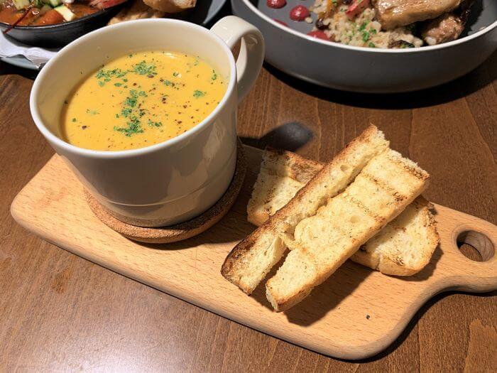 新竹竹北早午餐推薦/二十四分之一早午餐手作麵包/主廚例湯/南瓜濃湯